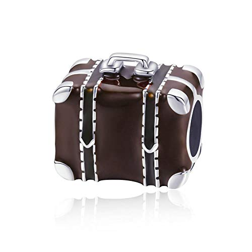 Maleta de viaje Venta caliente plata esterlina 925 maleta de viaje caja marrón esmalte perlas encanto pulsera DIY joyería fabricación