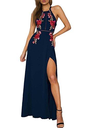 Simplee Apparel Damen Chiffon Maxikleid Retro Ärmlos Blumen Stickerei Split Lange Kleid Abendkleid Blau