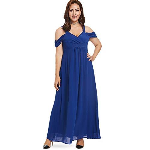 GMZA Größe Frauen Elegant Abend Party Kalte Schulter Hohe Taille Maxi Kleider Schatz Hals Langes Kleid Große Größe 5XL XXXL Kobaltblau