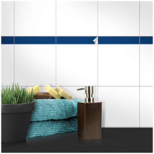 Wandkings Fliesenaufkleber - Wähle eine Farbe & Größe - Dunkelblau Seidenmatt - 3 x 19,9 cm - 100 Stück für Fliesen in Küche, Bad & mehr