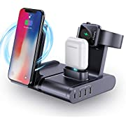Wireless Charging Station for Multiple Devices, seenda 90W 3 in 1 Wireless Charger with 1 60W USB C + 3 USB A Ports for iPhone iWatch AirPods MacBook Pro, Dell XPS 13, iPad and More