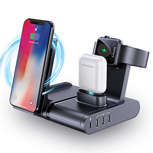 seenda 90W USB C Charging Station for Multiple Devices, 7 in 1 Wireless Charging Dock Station with 60W PD &QC 3.0 Port iWatch & AirPods Charger Stand for Laptop/MacBook/Phone/iPad/Tablet