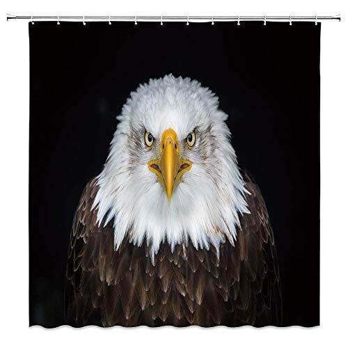 NJMRZX Bale Adler Duschvorhang patriotischer Vogel mit weißen Eschenfedern, Wildtier-Dekor, schwarzer Stoff, Badezimmer-Gardinen, 183 x 183 cm, wasserdicht, Polyester mit Haken