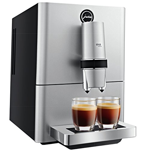 Jura ENA Micro 5 Aroma+ Cafetera súper automática para 2 tazas de café, 1450 W, 1.1 litros, Acero Inoxidable, Gris