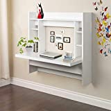 42 inches Floating Desk,Wall Mounted Floating Computer Desk Wood Laptop Table Standing Workstation with Storage Shelves Work Study (White)