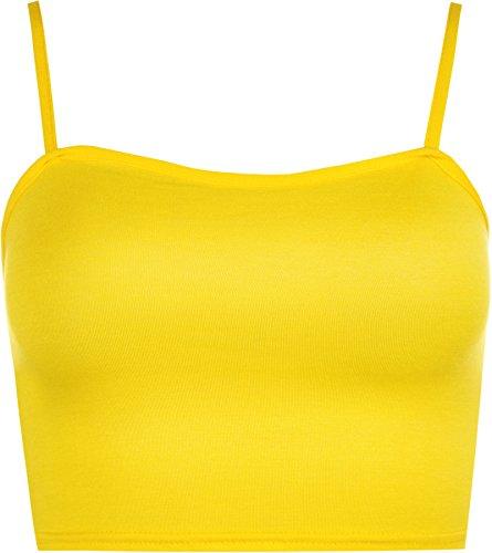 WearAll - Camisole Bralet Crop débardeur Top à Sangles - Jaune - 36-38