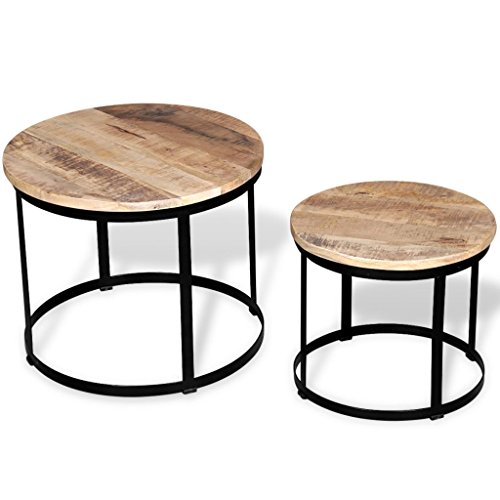 Festnight Lot de 2 Table Basse gigognes Bois Massif Rond Design et Modernes