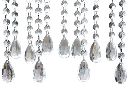 Ulove Prs Acrylic Teardrop Crystal, Chandelier Pendants Parts Beads, Garland Hanging Bead, Crystal Beaded for Wedding Party Centerpiece Tree Decoration (12 pcs)