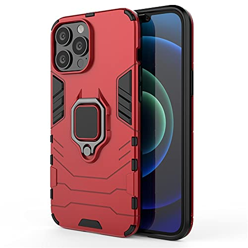 GHC Custodie e Cover per iPhone 13/13 PRO Max,ARMORR Armor Ring Armor Stand Bumper Case Phone Back Bumper Cover per iPhone 13 Mini/13 PRO (Colore : Rosso, Materiale : for iPhone 13 Mini)