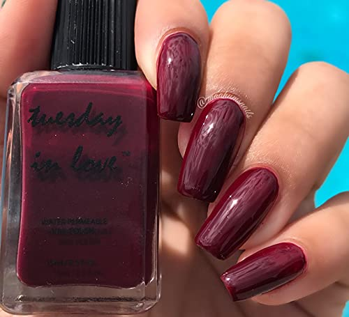 ISNA Certified Halal Nail Polish by Tuesday in Love - 15 ML/0.5 FL OZ - Vegan Nail Polish - Oxygen & Water Permeable - Fast Drying Breathable Nail Polish - Non-toxic & Cruelty Free (A Deeper Love)