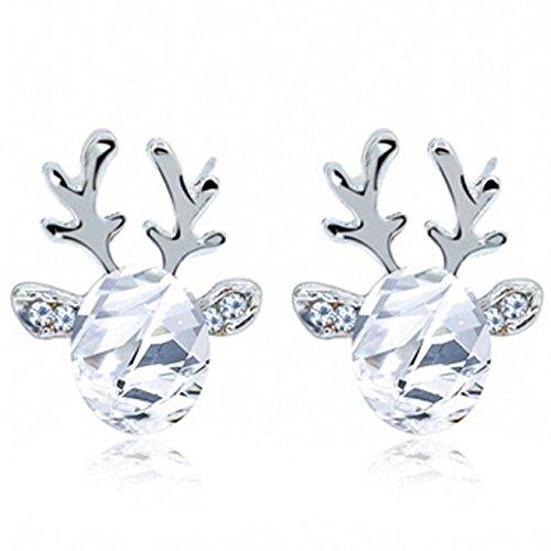STYLEEA Damen Kristall Edelstein Ohrringe dreidimensional Weihnachtsren Earing fur Frauen Weihanchten