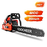 COOCHEER Petrol Chainsaw 62cc 3.5HP 20' Powerful Chainsaw 2 Stroke Handed GasPowered Chain Saw Easy...