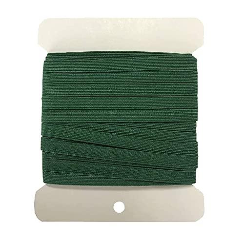 NIKB 1/4 inch Green Elastic for Sewing 11-Yards Christmas Green Elastic Bands for Masks /1/4 inch Green Elastic Cord for Sewing (1/4inch 11Yards Flat, Green)