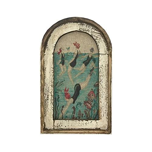 Perchas para cuadros de natación, arte de pared, decoración de baño, lienzo de madera para colgar pinturas con gancho en la parte posterior arte de la pared