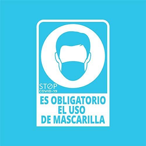 Pegatina COVID, Es obligatorio el uso de mascarilla, Prevención COVID-19, diseñado para empresas, como medida de protección contra el Coronavirus - Cartel prevención de 13 x 19cm (Blanco)