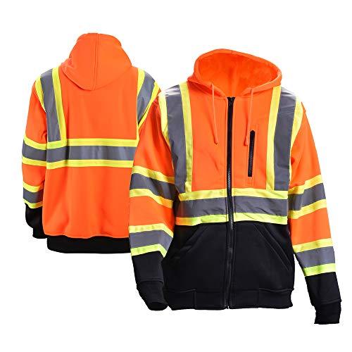 FONIRRA Hi-Viz Safety Full-Zip Hoodie Sweatshirt with Black Bottom,High Visibility ANSI Class 3 Fleece Hooded Jumper Workwear for Men(Orange,M)