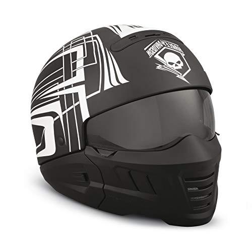 HARLEY-DAVIDSON Unisex Motorrad Roller Helm Skull Lightning 2-in-1 ECE Modularhelm Jethelm Biker Sturzhelm Schwarz, XL