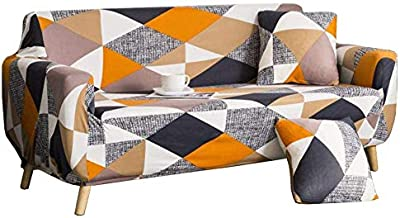 nordmiex Stretch Sofa Slipcovers Fitted Furniture Protector Print Sofa Cover Stylish Fabric Couch Cover for 3 Cushion Couchs(Sofa-3 Seater,Black/White/Grey/Orange)