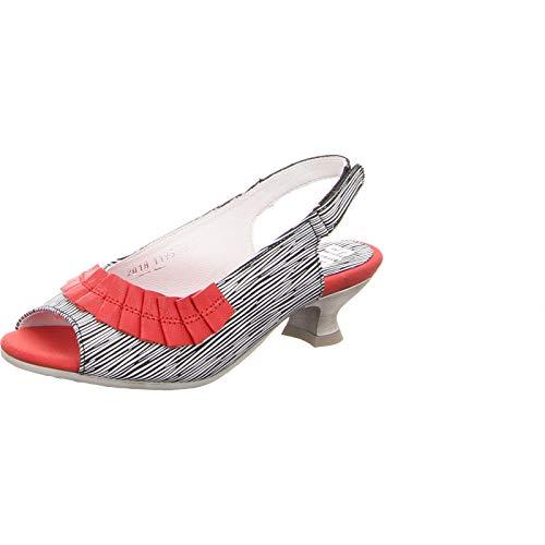 Simen Damen Pumps Außergewöhnliche Sandatette 1193A-GRAU-ROT rot 608672