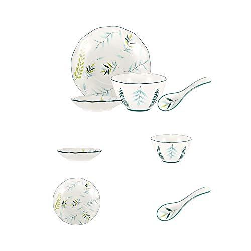 ZLSP 4-pieza de porcelana Definir combinación con el plato de sabor, Bowl, Deep Dish, Servicio de cucharadita de 1 ZLSP