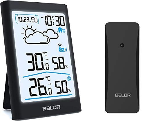 BALDR Wetterstation Funk mit Außensensor, Digital Thermometer Hygrometer Innen und Außen Raumthermometer Hydrometer Feuchtigkeit mit Wettervorhersage, Uhrzeitanzeige, Wecker und Nachtlicht1 (Schwarz)