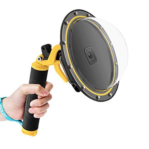 TELESIN Puerto domo para GoPro Hero 9, cubierta de puerto bajo el agua, protector de lente de cámara con mango flotante + disparador para GoPro Hero 9, color negro