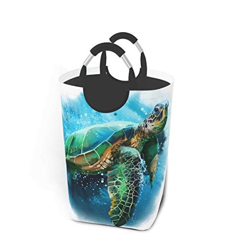 Nonebranded Big Sea Turtle Watercolor Laundry Basket Collapsible Portable Laundry Fabric Hampers Tote Bag Foldable Cloth Washing Bin