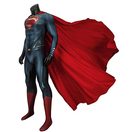 CXYGZLJ Superheld Erwachsene Cosplay Kostüm mit Mantel, Superman Stahlkörper COS Bodysuit Elternkind Performance Kleidung Jumpsuits Schlachtanzug 3D-Stil,XXL(185~190)