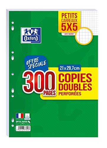 OXFORD Lot de 300 Pages Copies Doubles Perforées A4 (21 x 29,7cm) 90g Petits Carreaux 5x5mm avec Marge