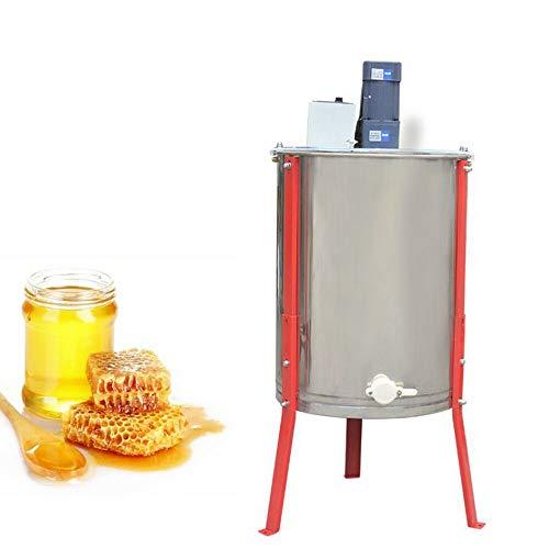 RANZIX Extractor de miel eléctrico de 4 panales, de acero inoxidable, apto para alimentos, extractor de miel eléctrico, para apicultura de abeja, compatible con cubierta para principiantes, apicultura