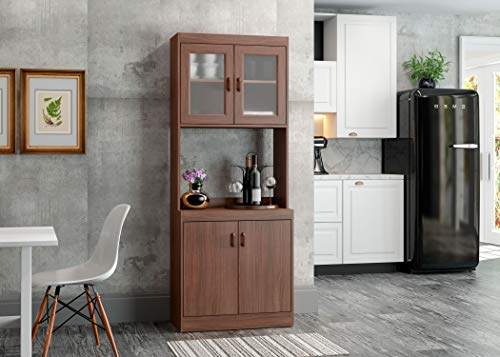 Home Source Microwave Cabinet with Lower Double Door Cabinet and Upper Double Glass Doors with Shelf