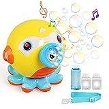 LEADSTAR Máquina de Burbujas para Niño, Pulpo Fabricante de Pompas Automática with 2 Bubble Bottles, Soplador de Pompas Bubble Machine para Juguete de Baño, Fiesta, Boda, Regalo Ideal