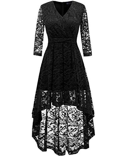 DRESSTELLS Damen elegant Hi-Lo Cocktailkleid Unregelmässig Spitzenkleid Vokuhila Kleid mit V-Ausschnitt Festlich Party Ballkleid Black 2XL