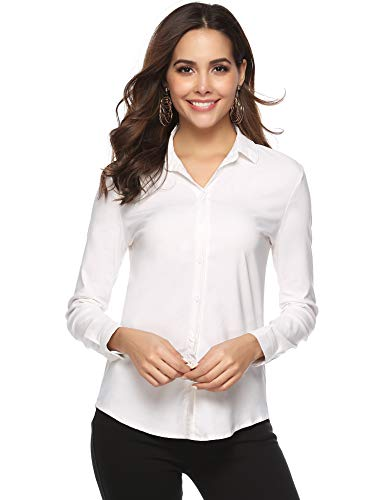 Abollria Camicia Donna Elegante a Manica Lunga Blusa Basic per Primavera Autunno Inverno