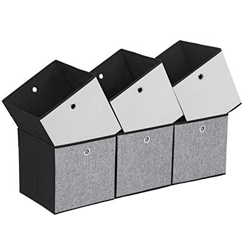 SONGMICS Juego de 6 Cajas Plegables, Cubos, Cestas y Contenedores de Tela para Guardar Ropa, Organizador de Juguetes, 30 x 30 x 30 cm ROB30WB
