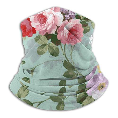 Máscara elástica de rosas rojas de color rosa vintage, elegante, multifuncional, antipolvo, antiviento y resistente al polvo