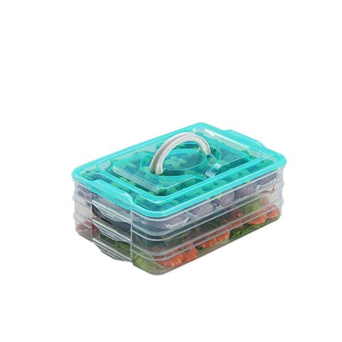 TIAN CHEN Refrigerator Organizer Bin, Plastic Food Storage Containers with Lid, 3-Layer, BPA free, Stackable Food Organizer Keeper for Snack, Vegetables, Meat, Fish, Bacon(green)