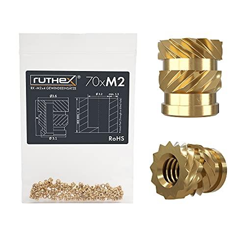 ruthex Inserto filettato M2-70 pezzi RX-M2x4- Boccola filettata in ottone - dado di inserimento per parti in plastica - utilizzabile in parti in plastica stampate in 3D tramite calore o ultrasuoni