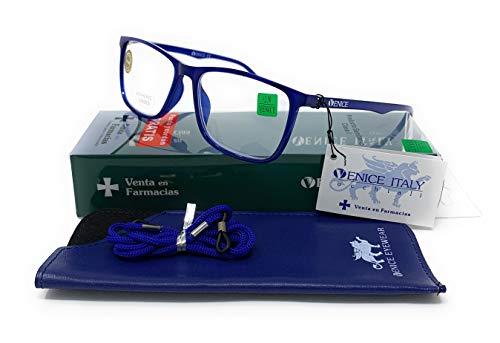 Gafas de lectura presbicia vista cansada ultraligeras y resistentes tr90 venice azul 1.00x