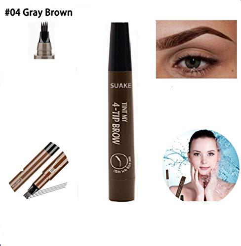 KGIDK Vier Gabelspitzen Flüssiger Augenbrauenstift, Tattoo Tint Wasserdichter Microblading Pen, Sketch Makeup Tattoo Tint Augenbraue mit Einer Mikrogabelspitze für Mädchen (Gray Brown,1PCS)