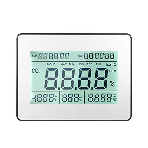 KKmoon CO2 Messgerät Kohlendioxid Detektor Luftqualitätsmonitor Messgerät mit Datenerfassungstaktfunktion 5,5-Zoll-LCD Messung der CO2-Konzentration und -Temperatur und -Luftfeuchtigkeit