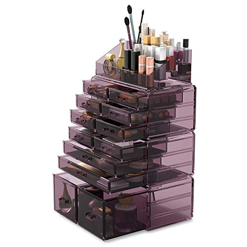 Readaeer Makeup Cosmetic Organizer Storage Drawers Display Boxes Case with 12 Drawers (Purple)