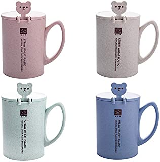 Nrpfell 450Ml Wheat Straw Mugs Plastic Coffee Mug Tea Cup with Spoon Lid Handle Cute Bear Mug Milk Tumbler Round Water Cups Caneca