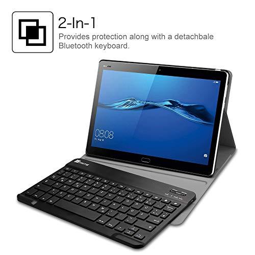 Fintie Huawei MediaPad M3 Lite 10 Bluetooth QWERTZ Tastatur Hülle - Ständer Schutzhülle mit Magnetisch Abnehmbarer Drahtloser Deutscher Bluetooth Tastatur für Huawei M3 Lite 10.1 Zoll, Schwarz - 6