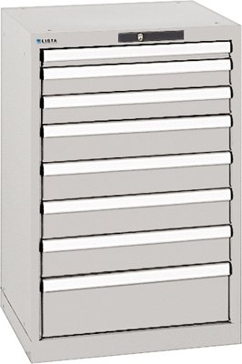 LISTA Schubladenschrank, Traglast/Schubl. 75 kg, 8 Schubladen: 1x50, 2x75, 4x100, 1x150 mm, Zylinderschlos s, BxTxH 564x572x850 mm, RAL 7035 lichtgrau