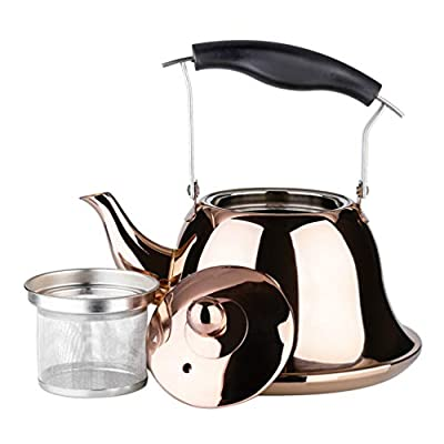 OMGard Whistling Tea Kettle with Infuser Loose Leaf Stainless Steel Teapot Rose Gold Teakettle for Stovetop Induction Stove Top Heat Water Tea Pot Copper 2 Liter 2 Quart