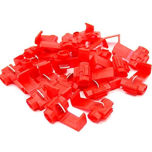 Abzweigverbinder Stromdieb Steckverbinder Schnellverbinder Klemmverbinder Schneidverbinder Vollisoliert, rot 0,5 bis 1,5 mm², blau 1,5-2,5mm², gelb 4-6mm² (100 Stück, Rot)