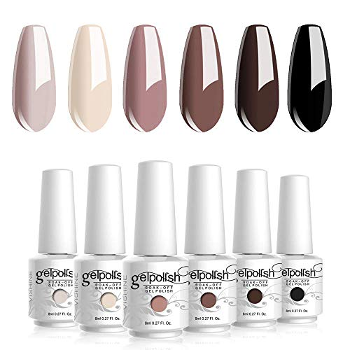 Lot de Vernis Semi permanent Vernis à Ongles 6 Couleurs Nu Brun Gel UV LED Soak Off Manicure Ongle Classique Nail Art