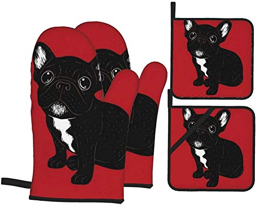 Cute Brindle Frenchie Puppy 4PCS Oven Mitts and Pot Holders Kitchen Heat Resistant Gloves and Non-Slip Hot Pads for BBQ Cooking Baking Hand Protection