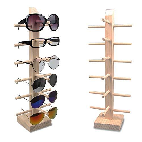 Metallic India 6 niveles de madera gafas de sol gafas estante de exhibición estante soporte marco rack organizador de almacenamiento para sala de exposición, tienda minorista escaparates